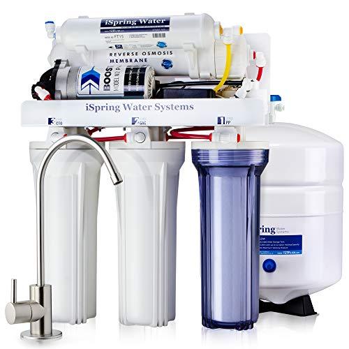 Sistema de filtrado de agua iSpring 75GPD de ósmosis inversa de 5 etapas con bomba potenciadora, modelo RCC7P