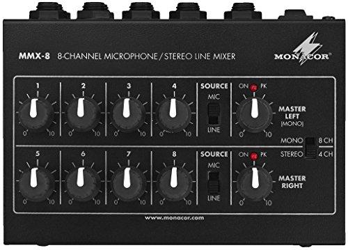 MONACOR MMX-8 Miniatur Audio-Mischer in Schwarz, Universal Mikrofon-Mischpult mit Klinken-Anschluss