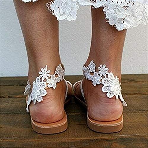 ZHXMYD Sandalias Planas De Encaje Sexis para Mujer, Chanclas De Verano con Hebilla En La Punta, Zapatos De Playa Informales Elegantes, Sandalias Sólidas