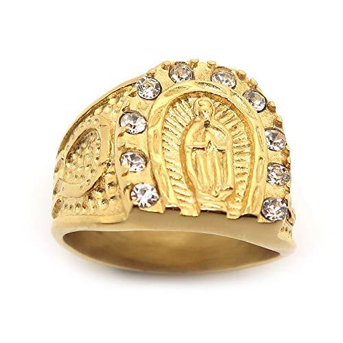 BOBIJOO Jewelry - Ring, Zegelring, Camargue Gypsy Ijzeren Paard Maagd Sara Staal Verguld Verguld