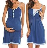 Ekouaer Women's Maternity Dress Sleeveless Nursing Nightgown for Breastfeeding Sleepwear Cobalt Blue