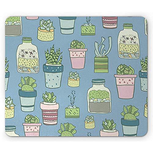 Botanische Muis Pad, Handgetekende Terrariums Huisplanten en Vetplanten in Potten Tuinieren Thema Print,Rubber Mousepad, Multi kleuren