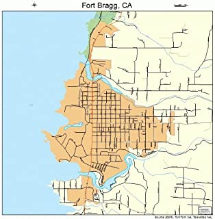 Large Street & Road Map of Fort Bragg, California CA - Printed poster size wall atlas of your home town