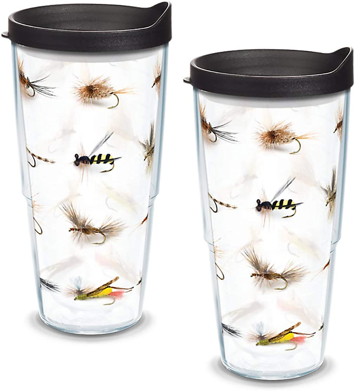 Tervis 1089781 Fish Flies Tumbler with Wrap and Black Lid 2 Pack 24oz, Clear