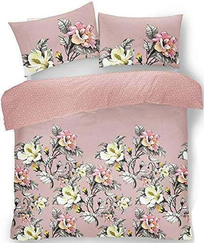 Gaveno Cavailia Eden Floral Sketch Luxurious Duvet Cover Sets Quilt Cover Sets Reversible Bedding Sets with Pillowcases (Pink, King)