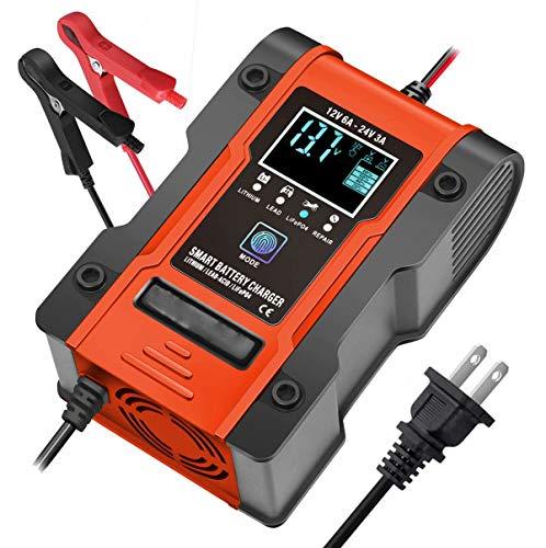 CUIJU Cargador de batería para automóvil,Cargador de 24 V,12 V,Cargador automático Inteligente,Mantenimiento de reparación para automóviles,Motocicletas,cortacésped,Barcos (Naranja)