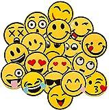 dancepandas Broderie Patch 20 pcs Emoji-Expression Coudre Patches Thermocollant Enfant Ecusson Thermocollant pour Vêtement T-Shirt Jeans Veste Sac DIY