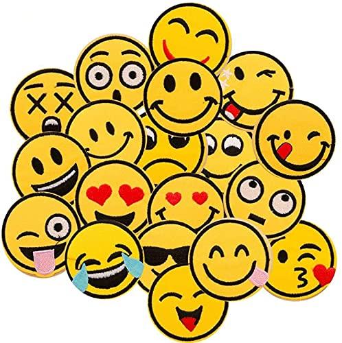 Ropa Parches,Dancepandas 20 pcs Patch Sticker bordado Emoji-expresión costura Sew en parche de para Mochila,Bolsa,Paño,Ropa DIY