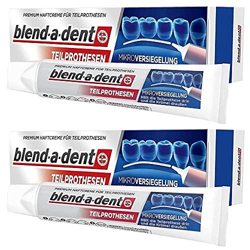 2 x Blend-a-dent microverzegeling premium kleefcrème voor gedeeltelijke protheses, 2 x 40 ml