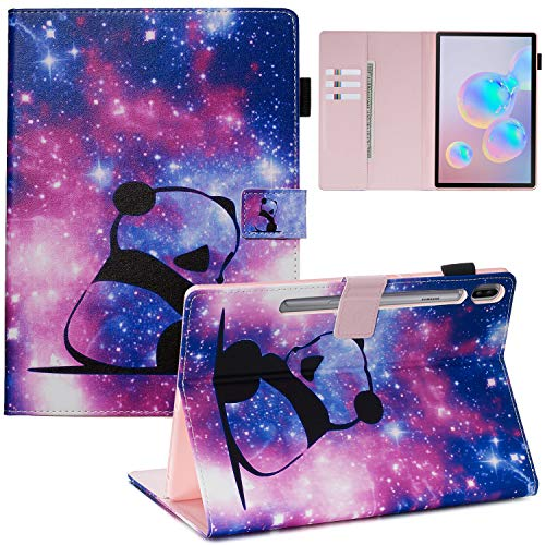 Candy House - Funda con tapa para Samsung Galaxy Tab S6 10,5' (SM-T860/T865), diseño de cartera de piel sintética con tarjetero y correa de mano con soporte magnético (Baby Panda)