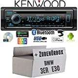 Autoradio Radio Kenwood KDC-BT530U - Bluetooth | Spotify | iPhone | Android | CD/MP3/USB - Einbauzubehör - Einbauset für BMW 3er E30 - JUST SOUND best choice for caraudio