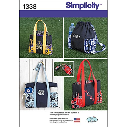 Simplicity 1338 Tote Bag, Backpack, and Coin Purse Sewing Pattern, One Size