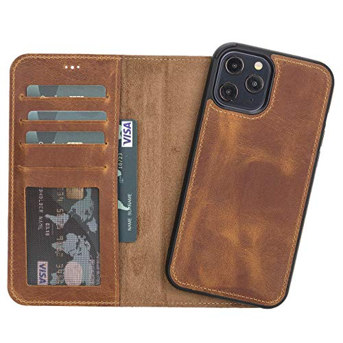 """iPhone 12 Pro Max Leather Wallet, Best Phone Case for iPhone 12 Pro Max 6.7"""", Magnetic Detachable iPhone 12 Pro Max Back Cover, Stand Function, Back Cover Supports MagSafe Charge and Wireless Charge"""