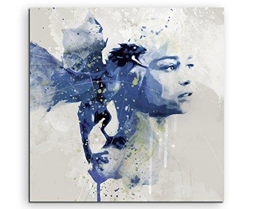 Game of-Thrones Khaleesi I Aqua 60x60cm - Splash Art Paul Sinus Wandbild auf Leinwand - Malerei, Kunstbild, Aquarell, Fineartprint