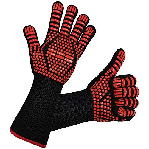 BBQ Heat Gloves, Grilling Gloves with Cut Resistant, 1472°F Extreme Heat Resistant Gloves BBQ Kitchen Silicone Oven Mitts for Cooking, Grill, Frying, Baking, 1 Pair
