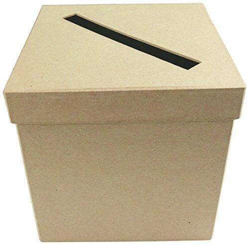Décopatch EV013O Packung mit 2 Briefkasten (aus Pappmaché zum Verzieren und Personalisieren, quadratisch, 19 x 19 x 19 cm) 1 Pack kartonbraun