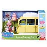 Free-wheeling with lift off roof Open the roof box to reveal hidden camp beds Store the bikes on the bike rack Includes tent, camp fire and cooking pot Includes mummy and daddy pig, Peppa and george articulated figures