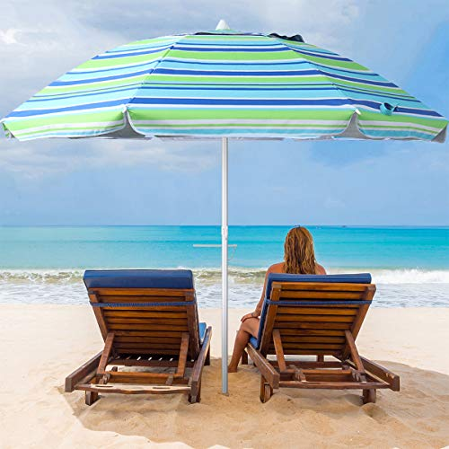 MOVTOTOP Beach Umbrella UV 50+, 6.5ft Umbrella with Sand Anchor & Tilt Aluminum Pole, Portable Beach Umbrella with Carry Bag for Beach Patio Garden Outdoor Blue/Green【2021 Upgraded】