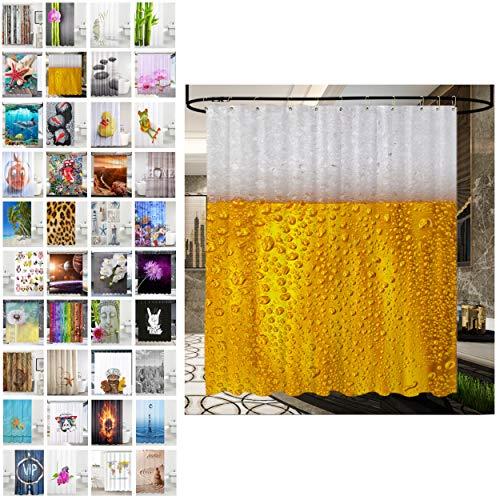 Sanilo® Duschvorhang, viele schöne Duschvorhänge zur Auswahl, hochwertige Qualität, inkl. 12 Ringe, wasserdicht, Anti-Schimmel-Effekt (180 x 200 cm, Bier)