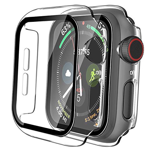 Tauri 2 Pack Hard Case for Apple Watch SE Series 6/5/4 40mm Built in 9H Tempered Glass Screen Protector, Slim Bumper, Touch Sensitive, Scratch-Resistant Full Protective Cover for iWatch 40mm - Clear