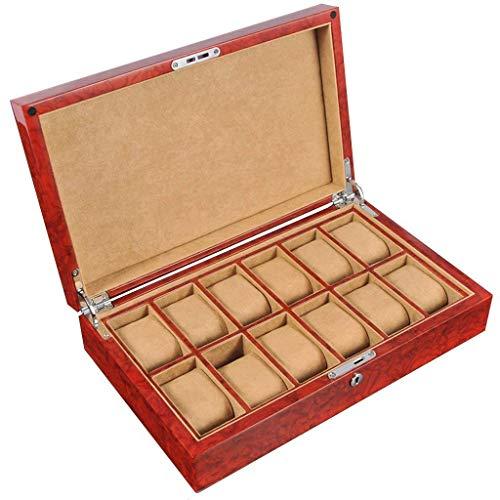 FGVBC Caja de Reloj, Caja de Almacenamiento para Hombres y Mujeres Reloj de 12 Ranuras con Cerradura de Mango de Almohada