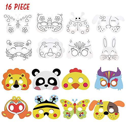 Cozywind Kindermasken Tiere aus Pappe Weiße Masken Unbemalt zum Bemalen Kinder Papiermasken 16 Stück Halbmaske Unlackiert DIY Maskerade Masken mit Farbstift zum Party Venetian Carnival Cosplay Kostüm