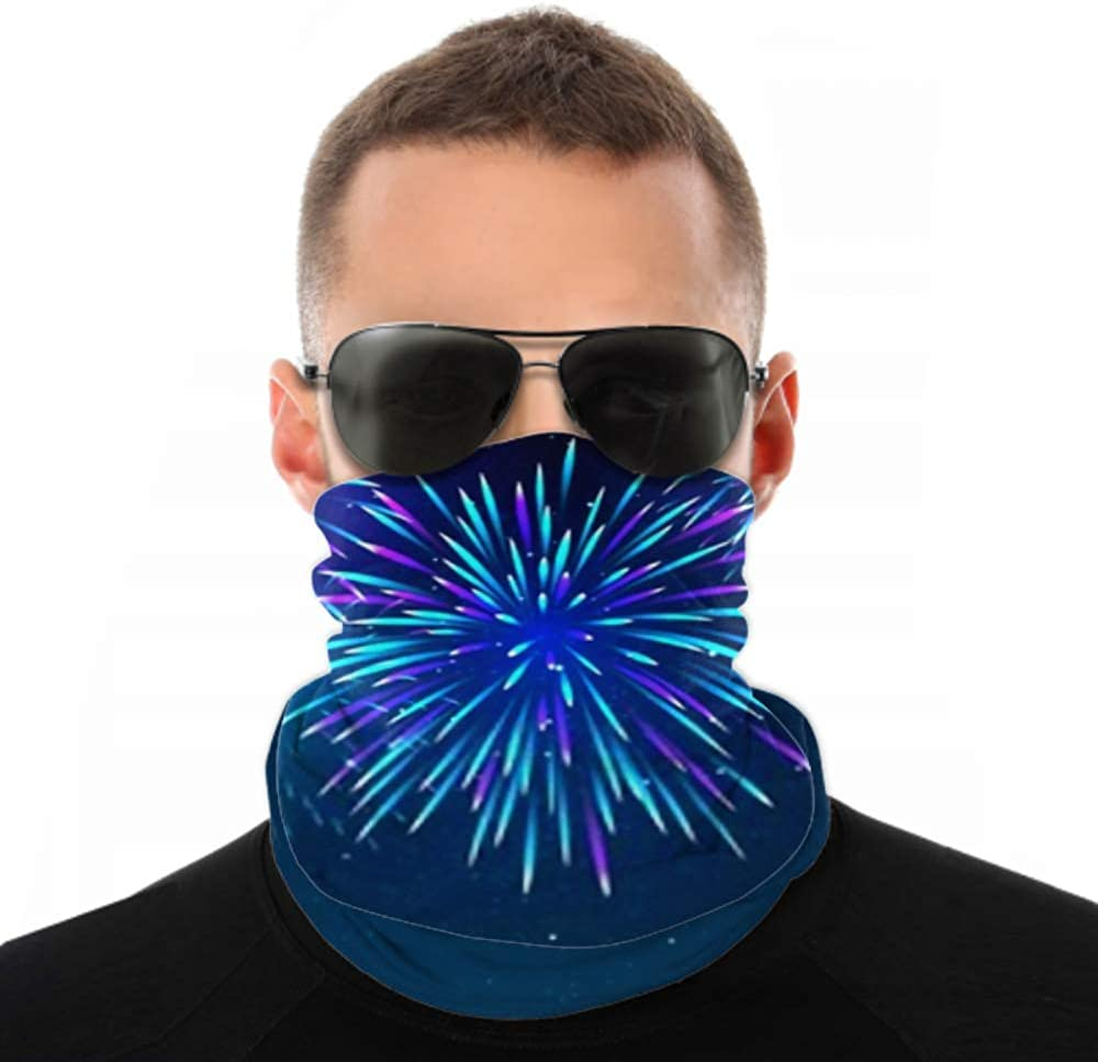Headbands For Men Women Neck Gaiter, Face Mask, Headband, Scarf Colorful Fireworks On Dark Blue Background Turban Multi Scarf Double Sided Print Sport Headbands For Women For Sport Outdoor