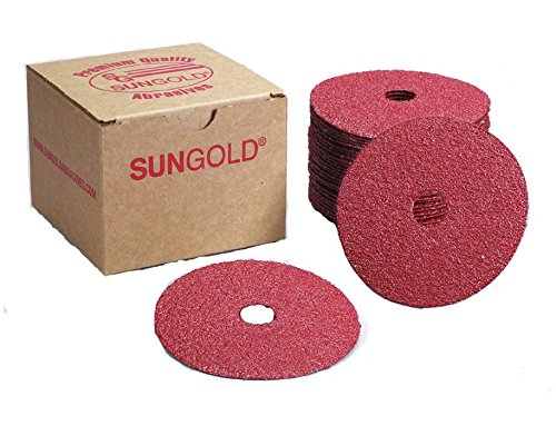 Sungold Abrasives 16902 4-1/2-Inch x 7/8-Inch Center Hole Aluminum Oxide Fiber Disc, 25-Pack, 36 Grit