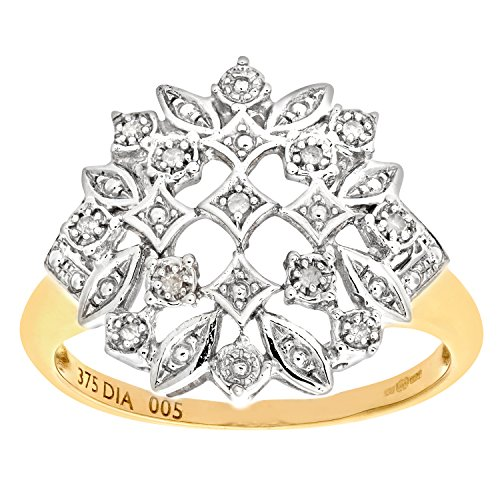 Naava Women's 9 ct Yellow Gold Diamond Fancy Cluster Ring, Size T