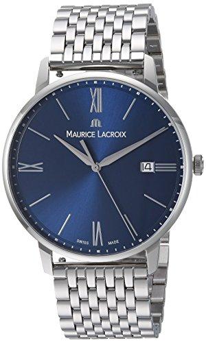 Maurice Lacroix Men's Eliros Swiss Quartz Watch with Stainless-Steel Strap, Silver, 14 (Model: EL1118-SS002-410-2)