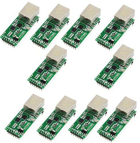 10 PCS UART TTL to Ethernet Module USR-TCP232-T2 Tiny Serial Ethernet Converter Module Serial UART TTL to Ethernet TCPIP Module Support DHCP and DNS