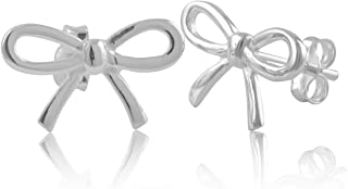 Sterling Silver Small Bow Stud Earrings - 15mm
