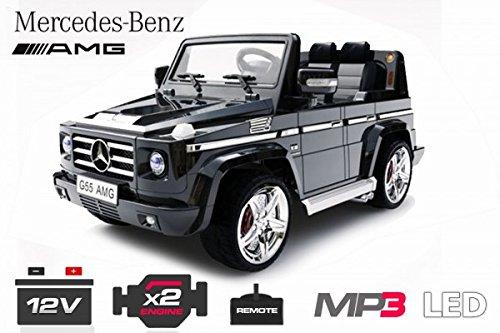 RC Auto kaufen Kinderauto Bild: Lizenz Kinderfahrzeug Mercedes Benz G55 AMG Jeep SUV mit 2x 35W Motor Kinderauto Elektroauto Fernbedienung MP3 Anschluss in Schwarz*