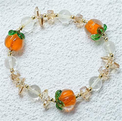 WCOCOW Bracelet en Cristal de la Richesse Feng Shui Verre Citrine Natural Bracelet Persimmon Attirer la Richesse Talisman pour la prospérité Money Bonne Chance