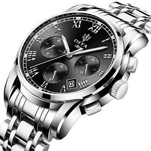 Armbanduhr wasserdichte Business Concept Uhr, Natürliches, Schwarz Beschichtetes Stahlband