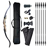 Tongtu 20-60 Lbs Recurve Bow and Arrow Set Archery Adult 60' Hunting Takedown Bow Longbow Beginners Archery Bow Kit (Left Hand, 40 pounds)