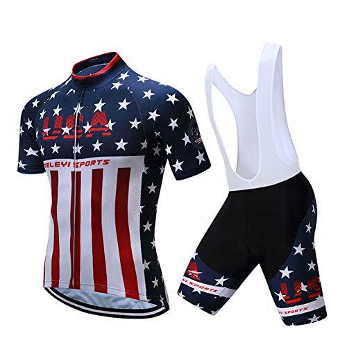 WSXEDC Maglia da Ciclismo Set per Uomo,Design Bandiera Americana Road Riding MTB Abbigliamento Salopette Pantaloncini in Gel Traspirante Camicia Traspirante con Tessuto Traspirante Quick Dry, L
