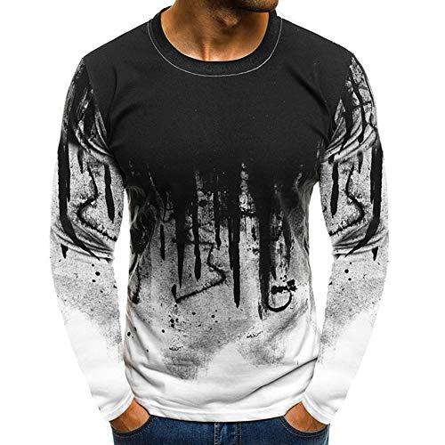 SLYZ Herren Herbst Neue Modelle Europäischen Und Amerikanischen Stil Mode Sport Fitness Farbverlauf Farbe Langärmeligen Personalisierten Druck Rundhals-t-Shirt Herrenhemd