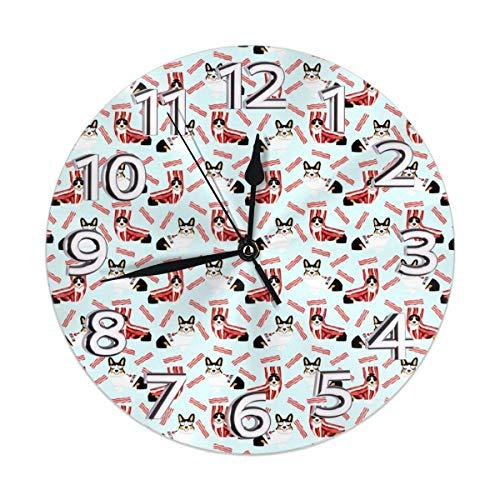 GOSMAO Reloj de Pared,Tricolor Corgi Fabric Corgis Love Bacon Fabric Design Disfraz de Perro Lindo Halloween, Reloj de Escritorio Decoracin del hogar para Cocina Sala de Estar Dormitorio Oficina