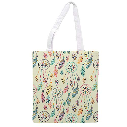 Womens Tote Bag - Dream Catcher Feathers Style - Lightweight Travel Grocery Shopping Gym Yoga Tote Bag Handbag for Women -1.47x 0.98 ft. Reusable Washable