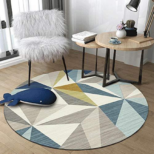 WJW-DT Gelb Grau Blau Beige Runder Teppich Teppiche für Wohnzimmer Schlafzimmer Flure Geometrischer Stil Durchmesser 80 100 120 140 160 180 200cm-160cm