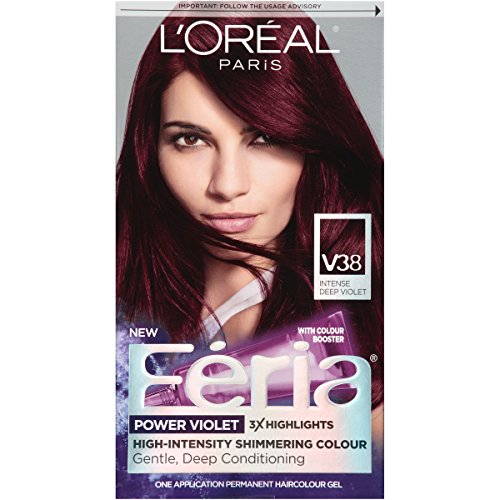 L'Oreal Paris Feria Multi-Faceted Shimmering Permanent Hair Color, V38 Violet Noir (Intense Deep Violet), Pack of 1, Hair Dye
