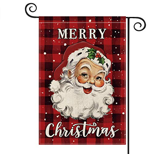 AVOIN Merry Christmas Watercolor Buffalo Check Plaid Santa Claus Garden Flag Vertical Double Sized, Winter Holiday Yard Outdoor Decoration 12.5 x 18 Inch