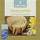 followfish Thunfischfilet in Bio - Sonnenblumenöl, 8er Pack (8 x 185 g)