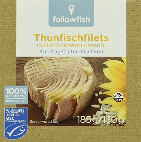 followfish Thunfischfilet in Bio - Sonnenblumenöl, 8er Pack (8 x 185 g)