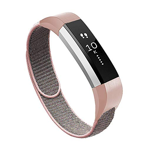 VEAQEE Compatible Alta Ace Nylon Bands, Soft Nylon Breathable Sport Wristbands for Women Man Kids Quick Release Replacement Wristband Accessories for Ace Alta HR Fitness Tracker (Pink Sand)