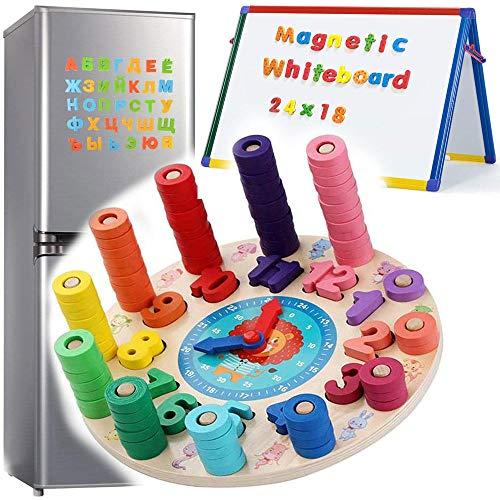 Zaaqio 2 en 1 Juguete Educativo Bebe Magnéticos de Madera para Chico Montessori Juguetes Magnéticos para 2, 3, 4 Años, Niño, Niña, Juguetes de Aprendizaje Montessori