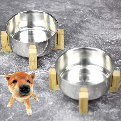 Yiwa schaal voor katten, rond, roestvrij staal, 5 inch, met standaard van bamboehout