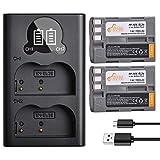 EN-EL3e, Pickle Power 2 x 1900mAh EN-EL3a, EN-EL3 Batteries and LED Dual USB Charger Compatible with Nikon D50, D70, D70s, D80, D90, D100, D200, D300, D300S, D700 D900 Digital Cameras
