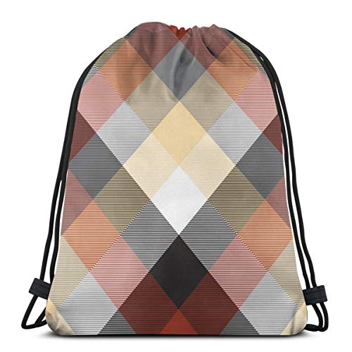 best pillow Beige Color Check Plaid Seamless PatternUnisex Sackpack, Carry-All Gym Rucksack for Men and Women, Running Bag with Drawstring